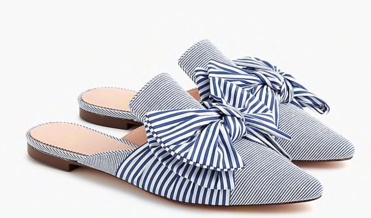 J. Crew Pointed-Toe Bow Slides in Mixed Stripe