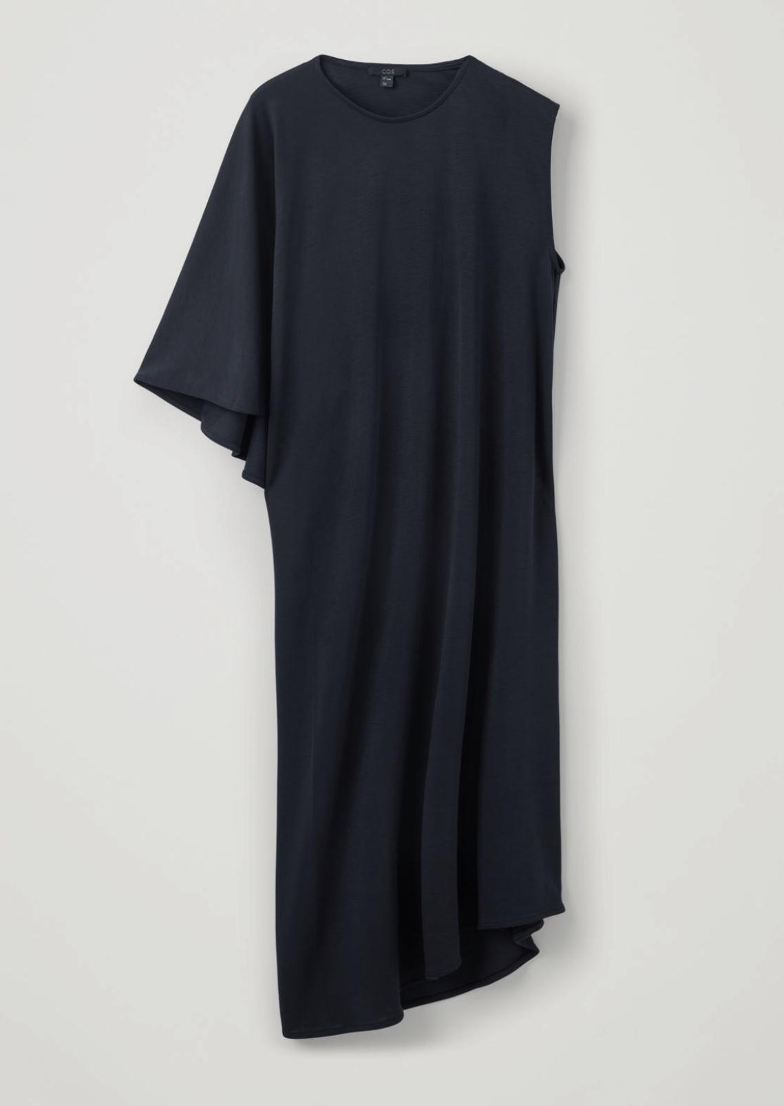 Cape-Panneled Long Jersey Dress