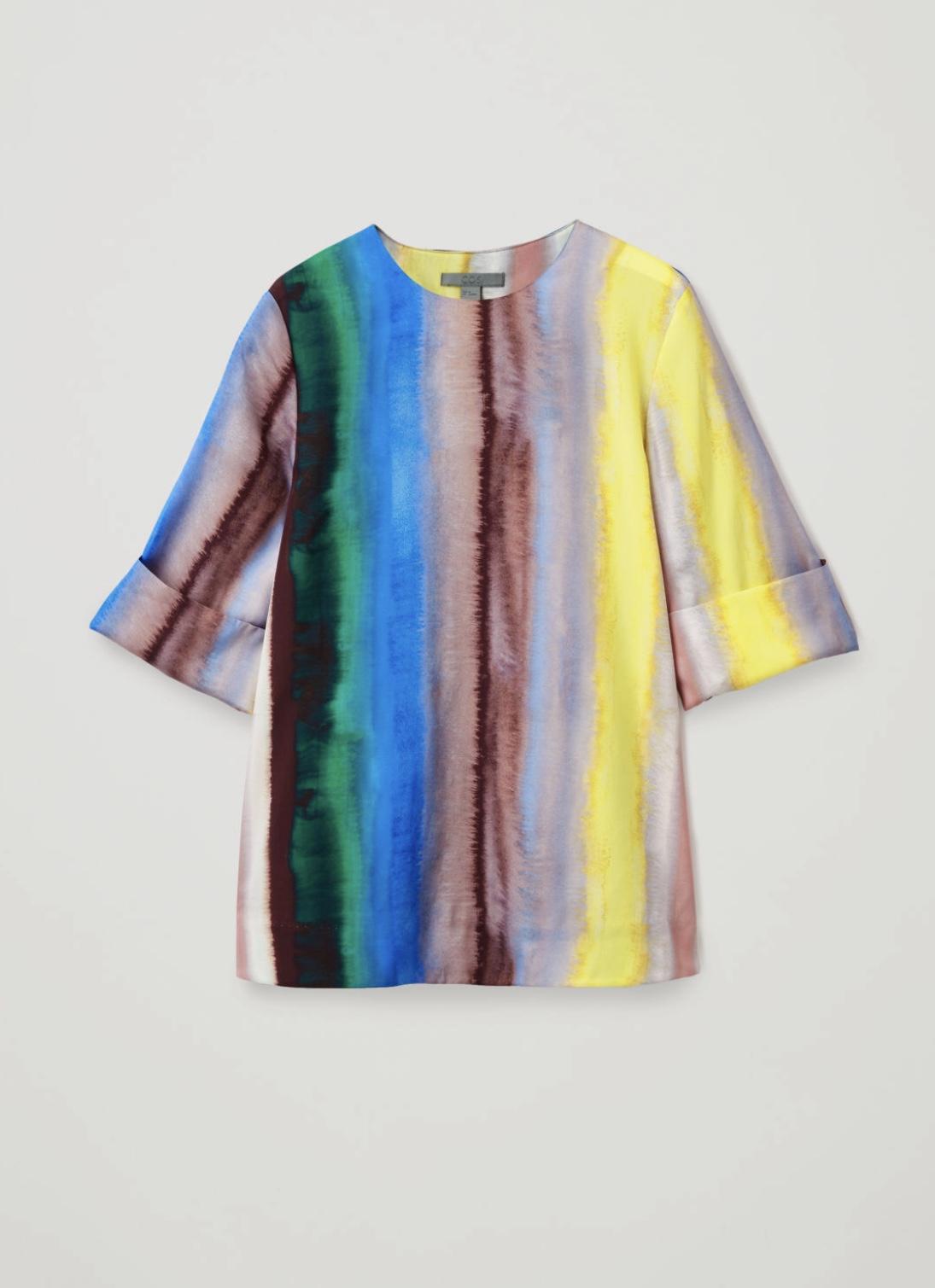 Overlap-Back Multi-Striped Silk Top