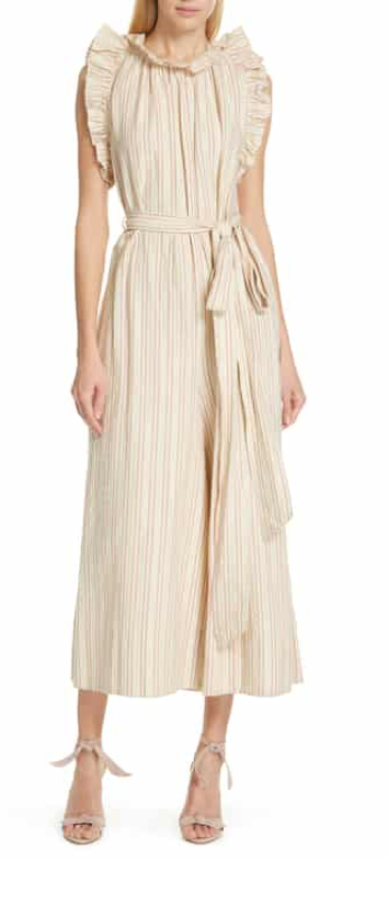 Ulla Johnson Simka Metallic Stripe Ruffle Trim Jumpsuit