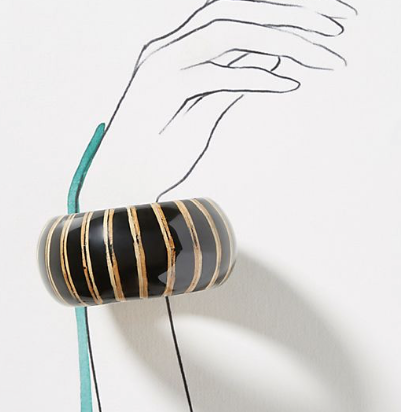 Striped Wooden Bangle Bracelet