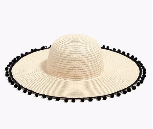 Straw Hat with Pom-Poms