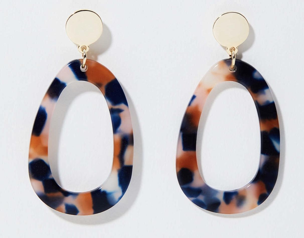 Metallic Resin Drop Earrings