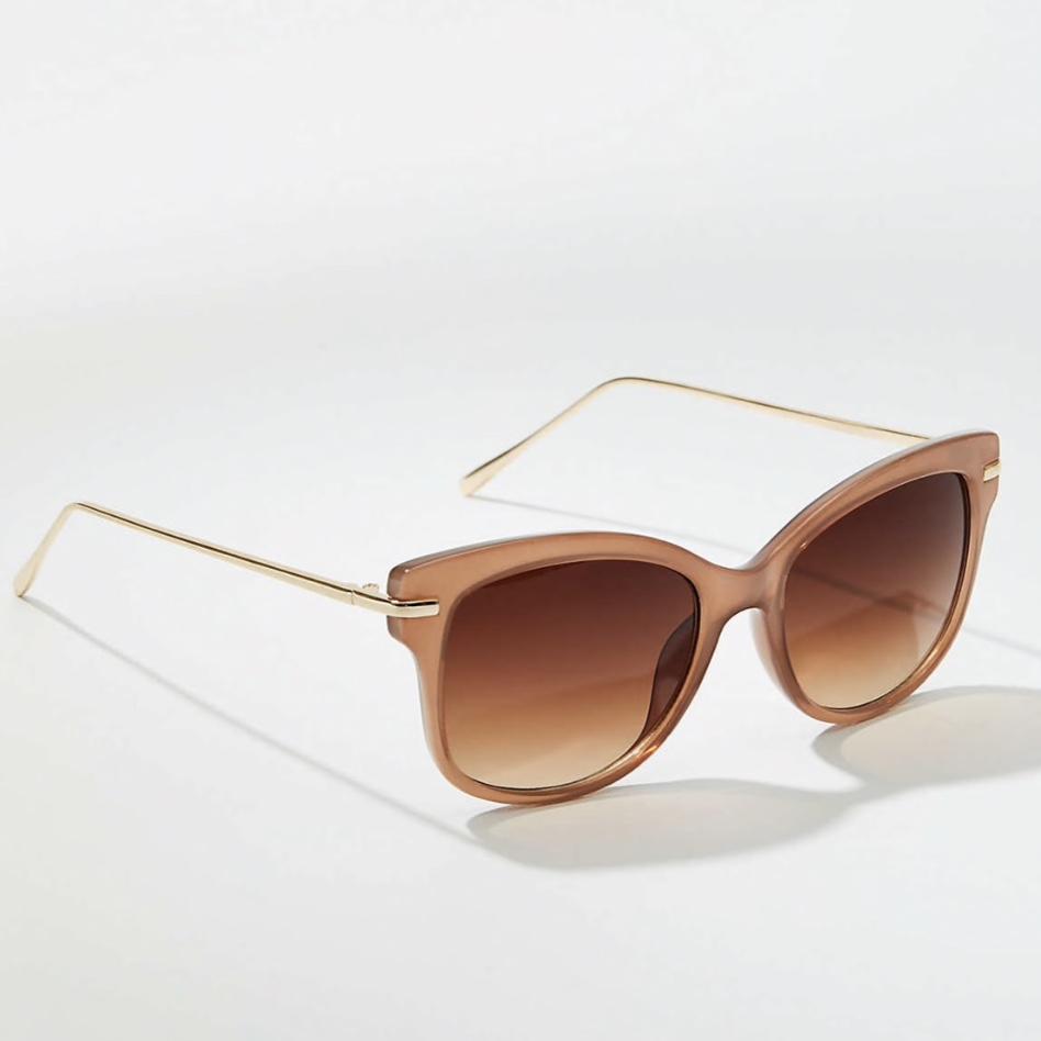 Tortoiseshell Print Metallic Arm Cateye Sunglasses