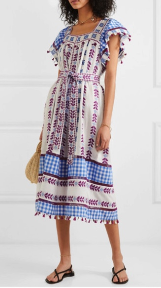 Dodo Bar Or Tassled Broderie Anglaise Cotton-Jacquard and Poplin Midi Dress