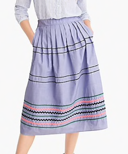 Rickrack Trim Skirt in Cotton Poplin