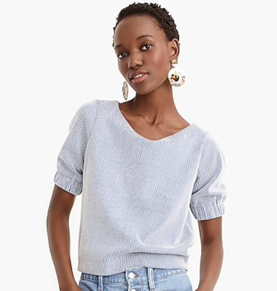 Puff-Sleeve Crop Top in Knit Seersucker