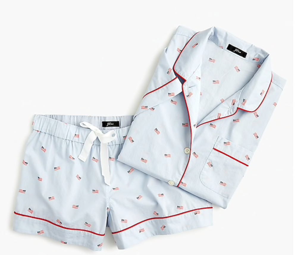 Short-Sleeve Cotton Pajama Set in Flag Print