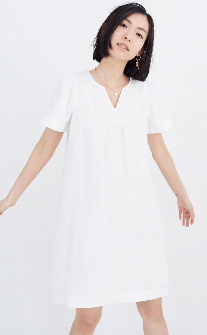 Denim Popover Swing Dress in Pure White