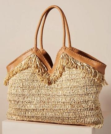 Anthropologie Suzy Raffia Tote Bag
