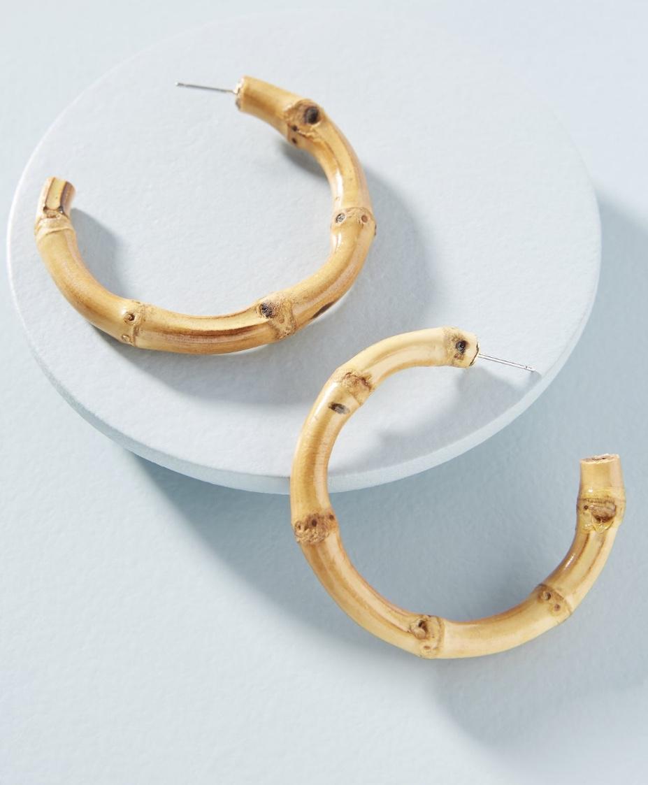 Anthropologie Bamboo Hoop Earrings