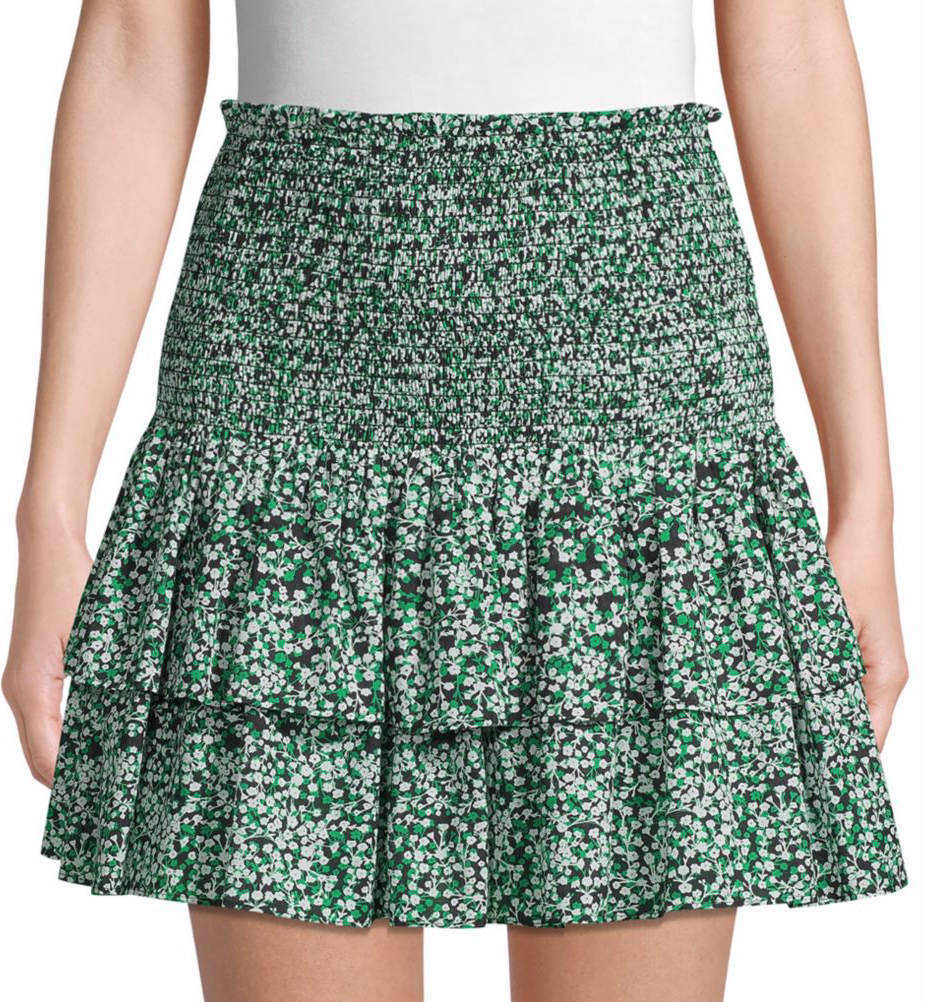 Rebecca Minkoff Botanical-Print Tiered Cotton Mini Skirt