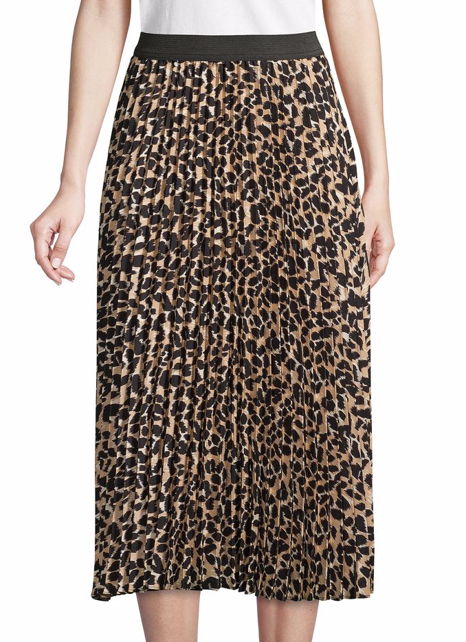 Ava & Aiden Leopard-Print Pleated Skirt