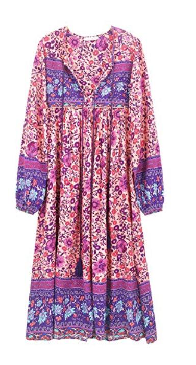 R.Vivimos Long Sleeve Floral Print Retro V Neck Tassel Bohemian Midi Dress