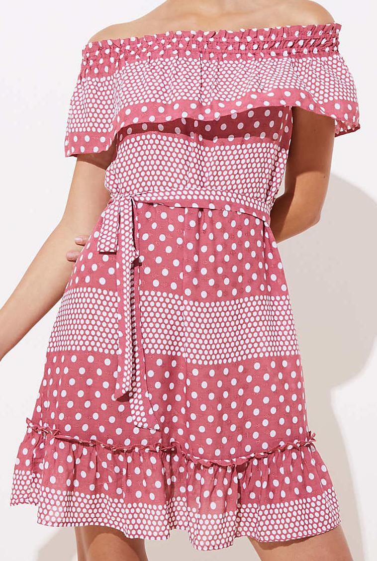 Mixed Dot Off The Shoulder Dress