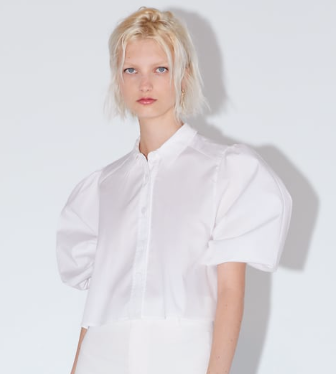 Cropped Poplin Blouse