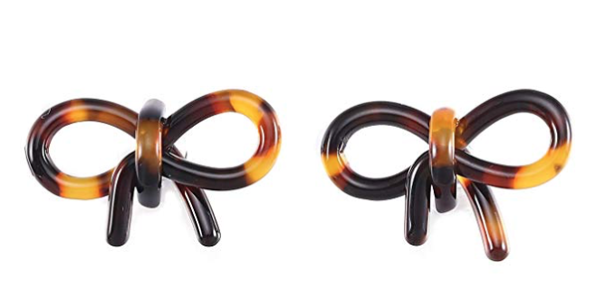 Acrylic Bow Knot Stud Earrings, Tortoise Shell Lucite