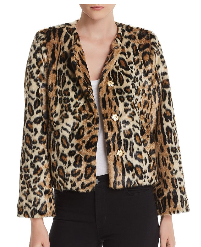 Notes du Nord Mika Faux Fur Leopard Jacket
