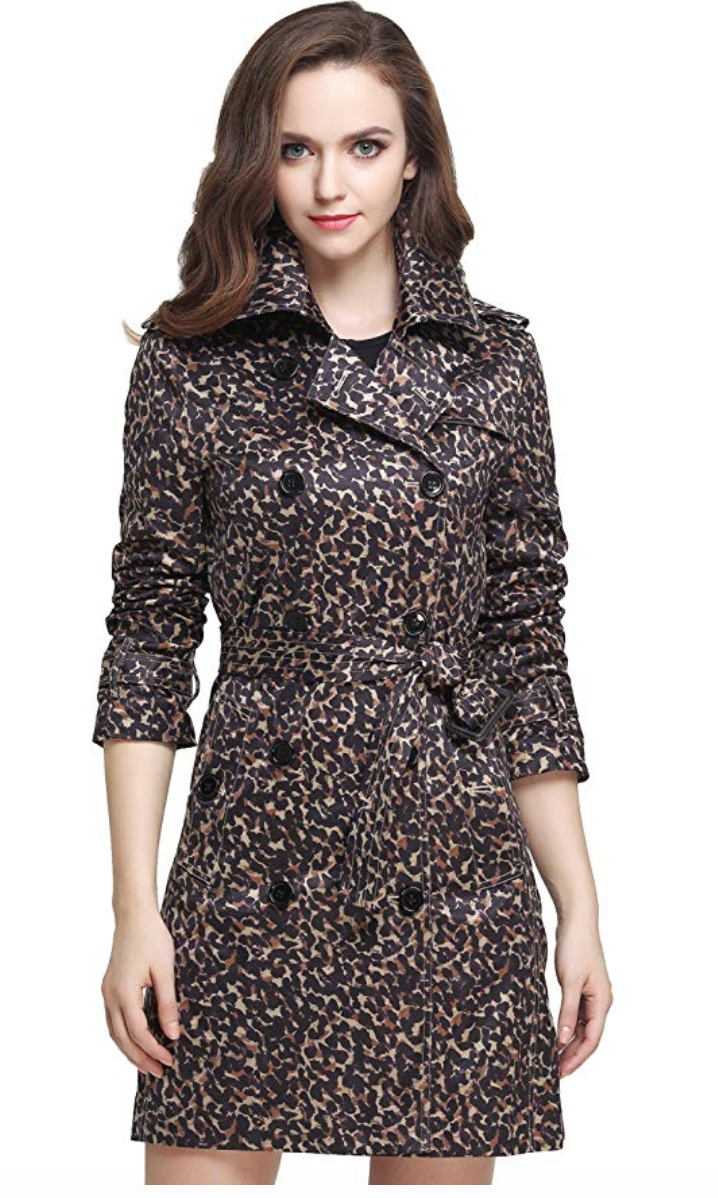 Camii Mia Women's Fashion Leopard Slim Double Breasted Trench Coat