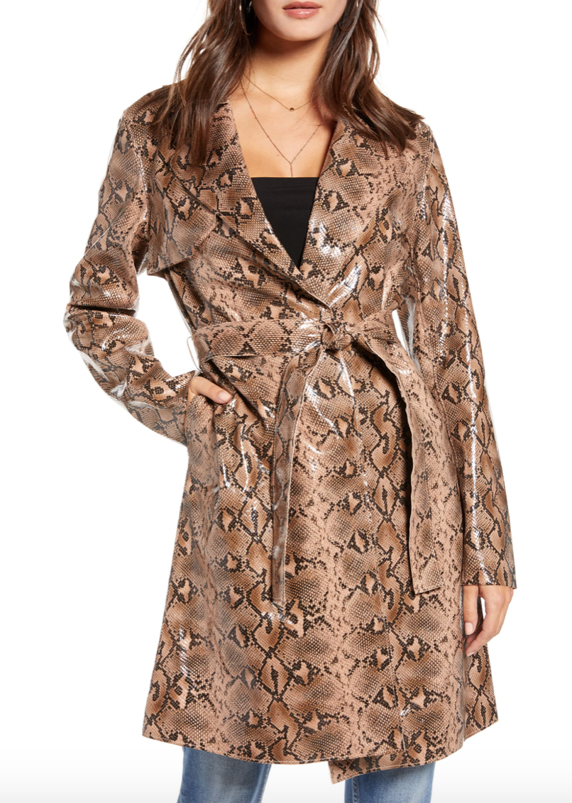 Snakeskin Faux Leather Trench Coat