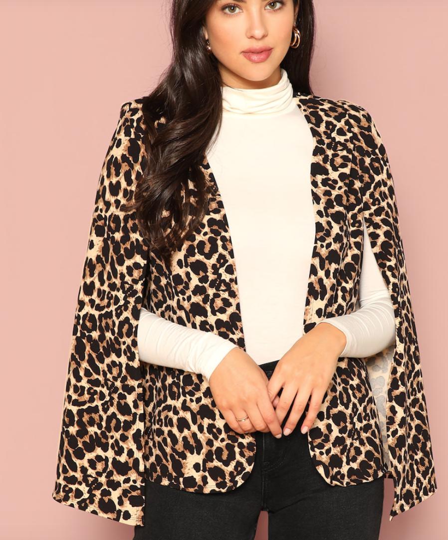Shein  Leopard Print Cape Coat