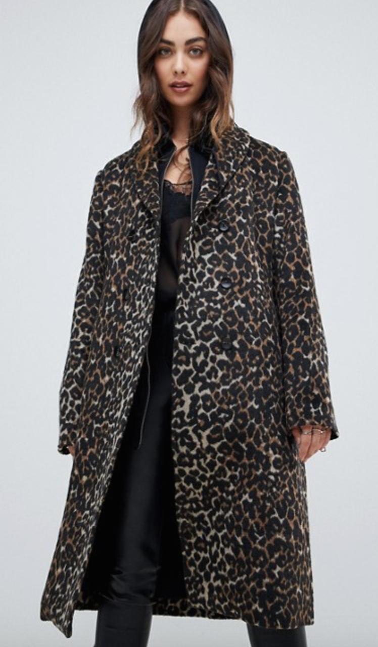 Asos Religion Belted Coat in Leopard