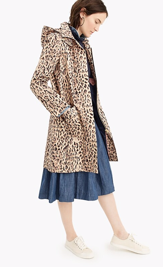 J. Crew Leopard Print Trench Coat with Removable Hood