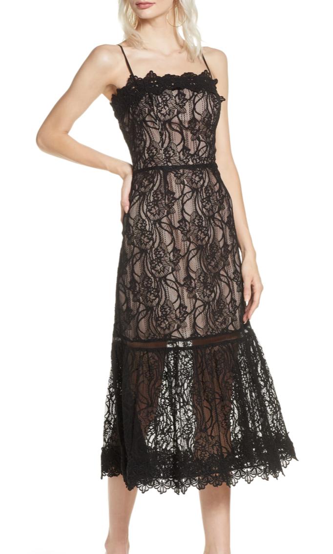 BB Dakota Scalloped Lace Midi Dress