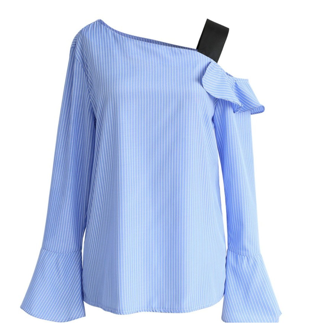 Chicwish Stripes Skipper One-shoulder Top in Blue
