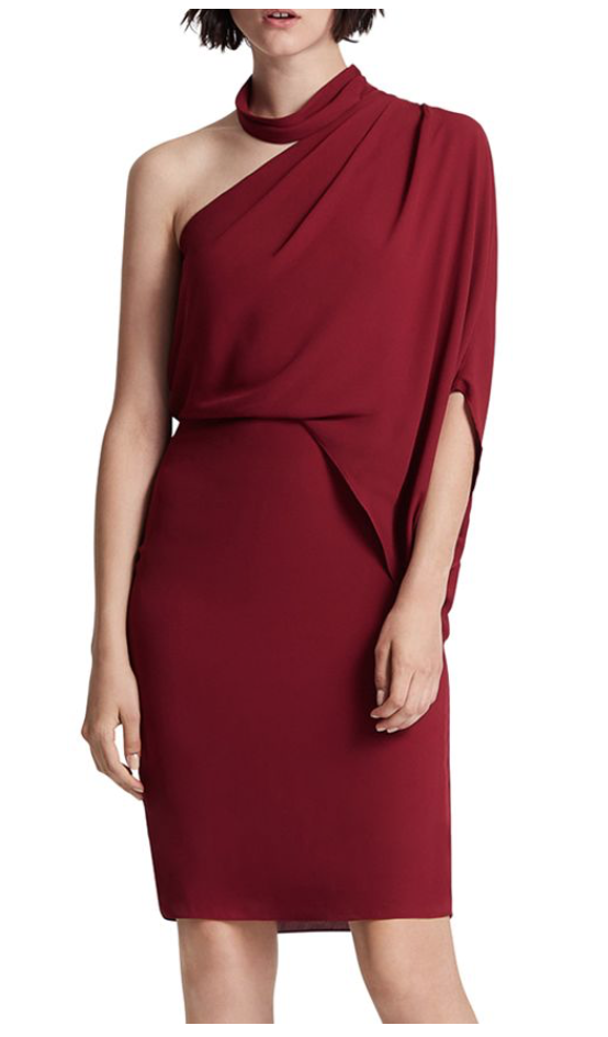 Halston Asymmetric Draped Mock-Neck Dress