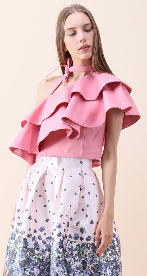 Chicwish Ritzy One-shoulder Ruffled Crop Top in Pink