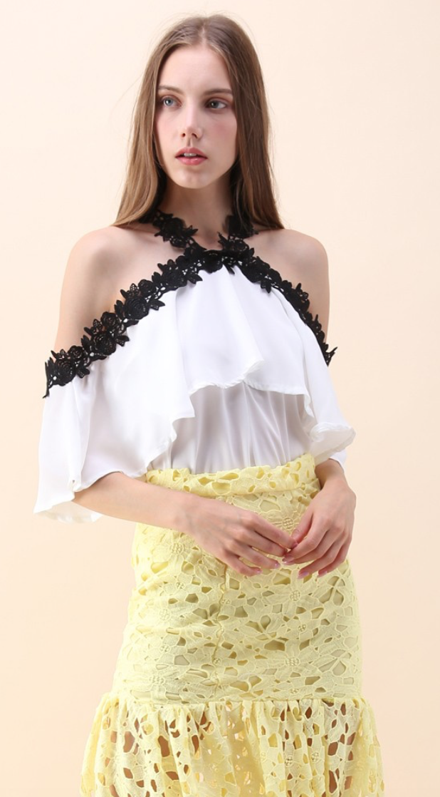 Chicwish Fancy Night with Roses Cold-shoulder Chiffon Top in White