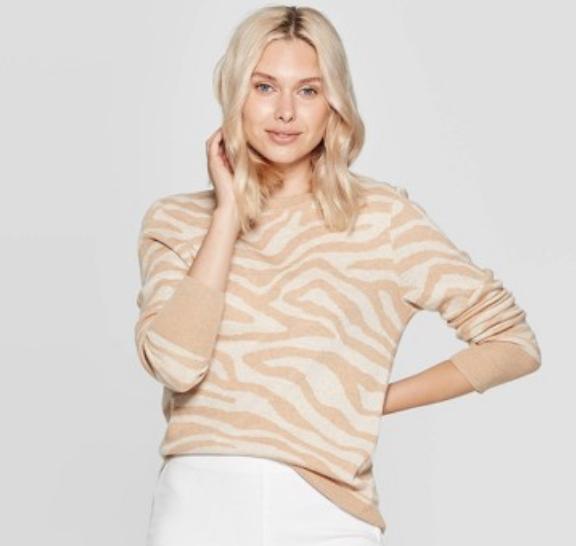 Animal Print Long Sleeve Rib-Knit Cuff Crewneck Pullover Sweater - A New Day™