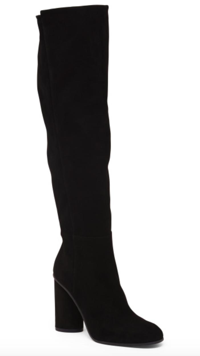Stuart Weitzman High Shaft Block Heel Suede Boots