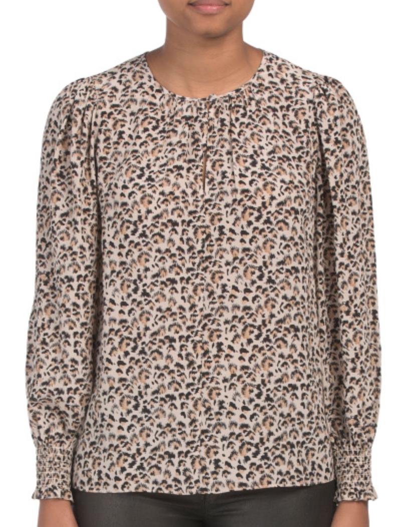 Rebecca Taylor Cinch Sleeve Split Neck Silk Top