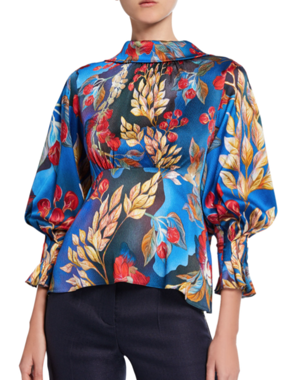 Peter Pilotto Floral Crepe Bow-Back Blouse