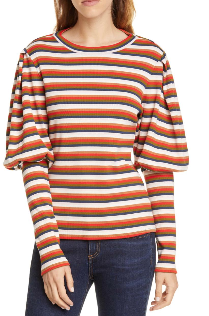 Veronica Beard Lyon Stripe Puff Sleeve Top