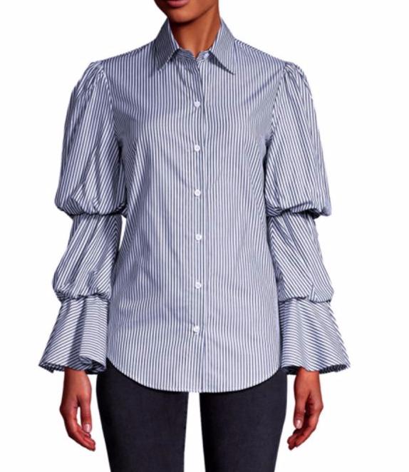 Petersyn Evan Striped Tiered Puff-Sleeve Top