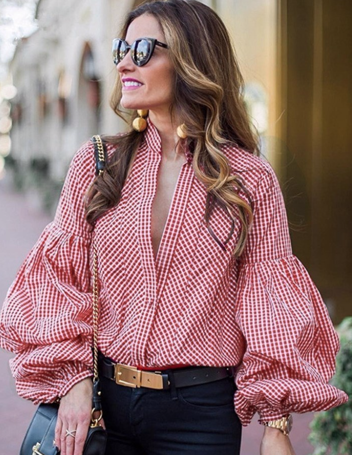 TB Dress Puff Sleeve V Neck Button Down