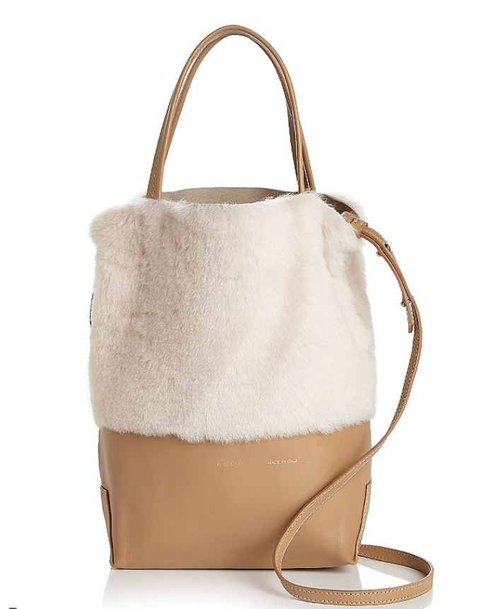 Alice D. Small Leather and Shearling Tote