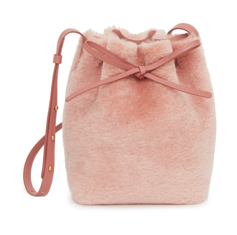 Mansur Gavriel Shearling Mini Bucket Bag, Blush
