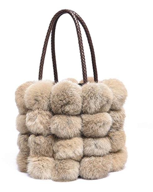 Amazon QZunique Faux Fur Bucket Handbag
