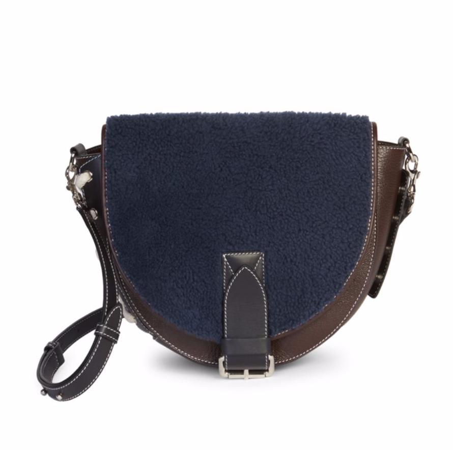 JW Anderson Shearling & Suede Saddle Bag