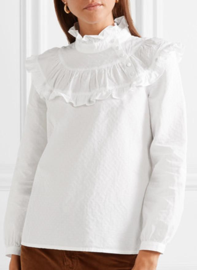 M.i.h. Jeans Emmanuelle Ruffled Swiss-Dot Cotton-Blend Blouse