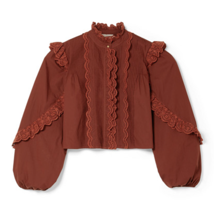 Ulla Johnson Adelaide Ruffled Broderie Anglaise-Trimmed Cotton-Poplin Shirt