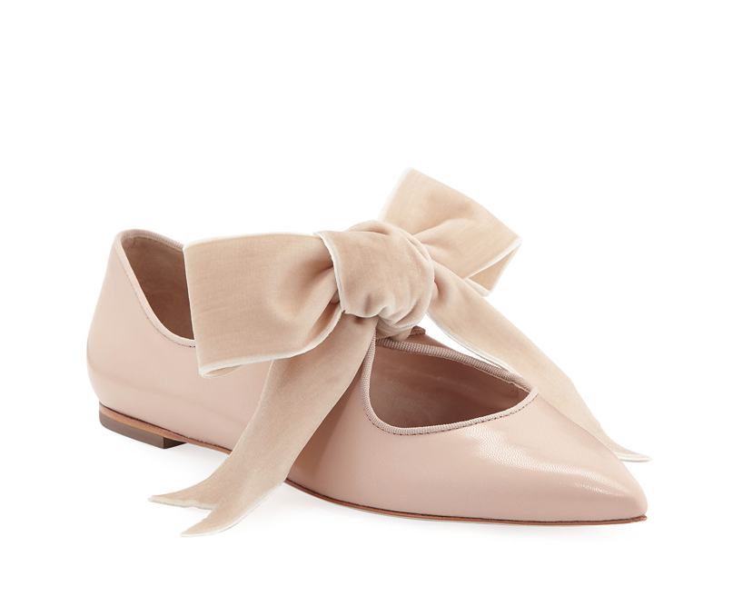 Tory Burch Clara Ballet Flats with Large Velvet Bow