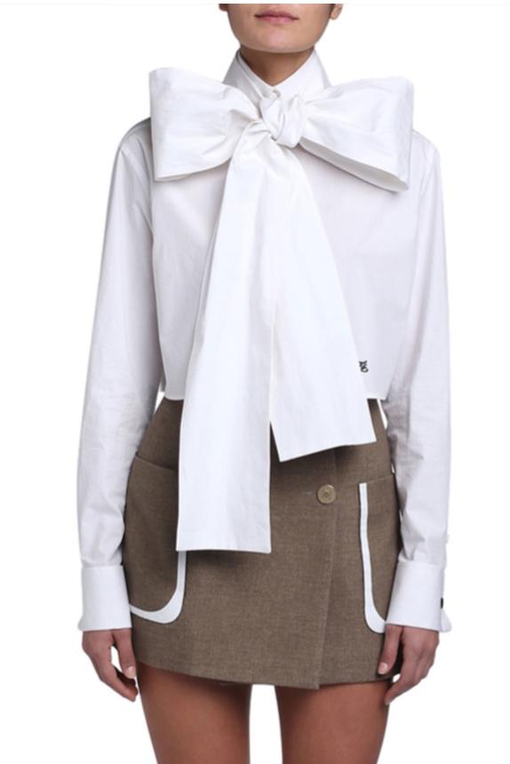 Fendi Cotton Taffeta Cropped Bow-Neck Shirt