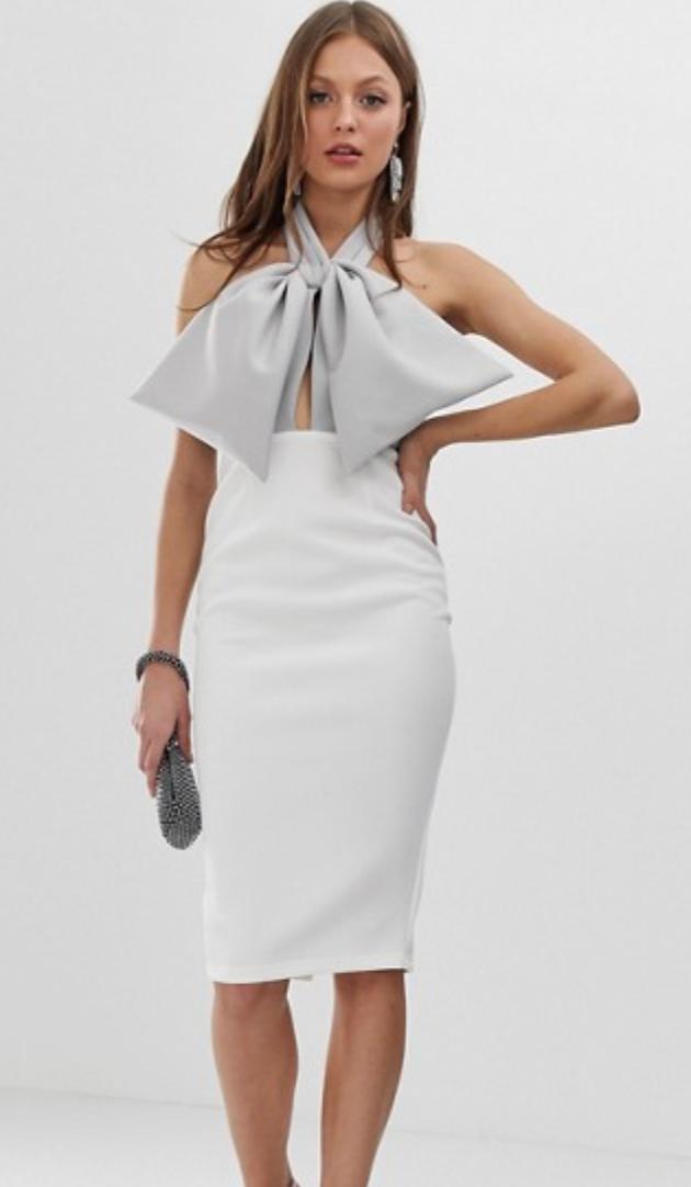 Asos Halter Bow Midi Pencil Dress