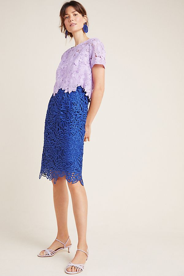 Anthropologie Graceanne Colorblocked Lace Dress