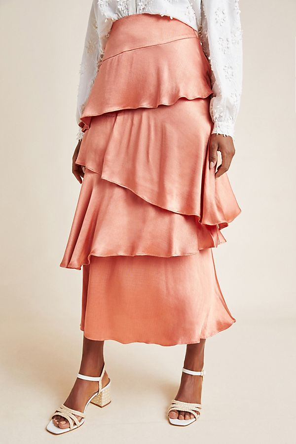 Anthropologie Cassia Tiered Maxi Skirt